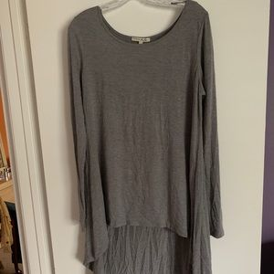 Express high low Grey long sleeve top, size large